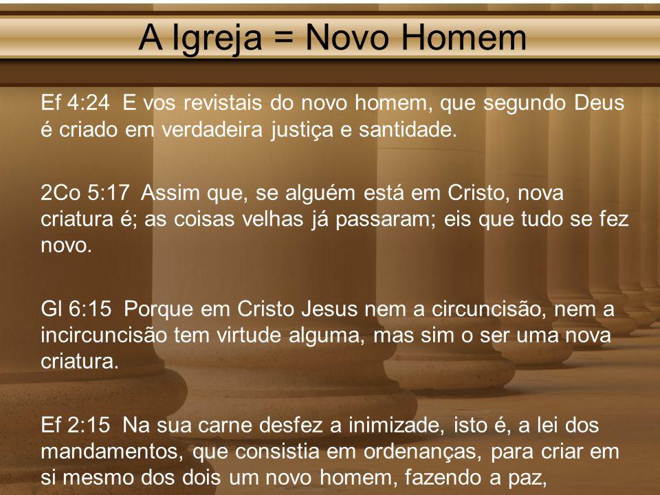 A Igreja = Novo Homem Ef 4:24 E vos revistais do novo homem, que segundo Deus é criado em verdadeira justiça e santidade.