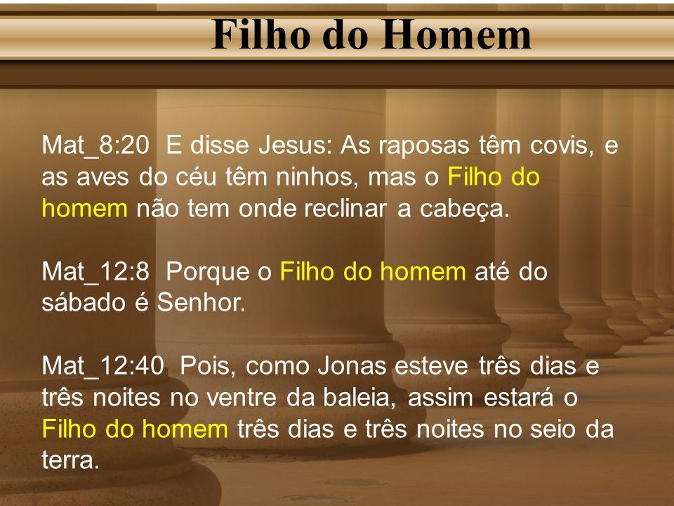 Filho do Homem Mat_8:20 E disse Jesus: As raposas têm covis, e as aves do céu têm ninhos, mas o Filho do homem não tem onde reclinar a cabeça.