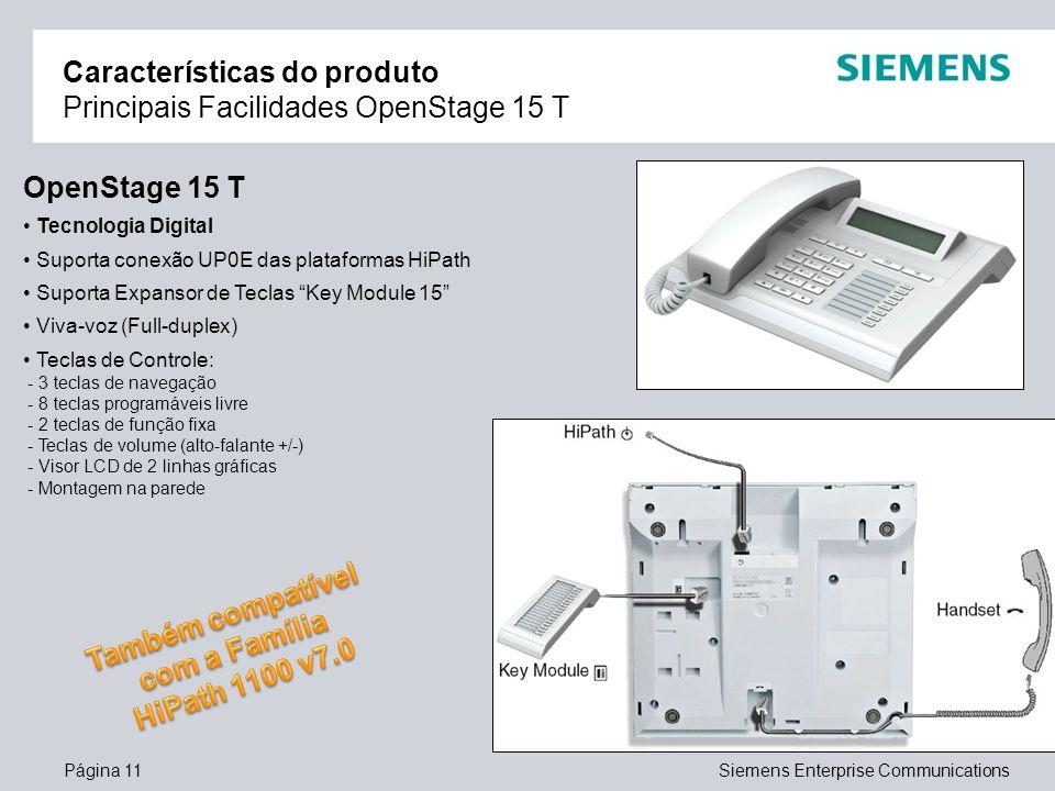 Características do produto Principais Facilidades OpenStage 15 T