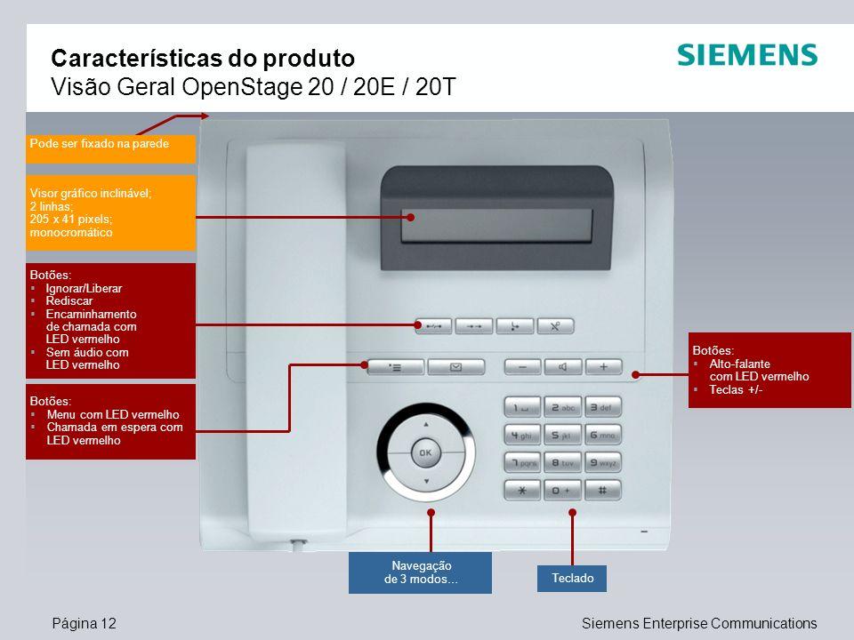 Características do produto Visão Geral OpenStage 20 / 20E / 20T