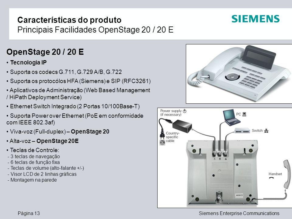Características do produto Principais Facilidades OpenStage 20 / 20 E