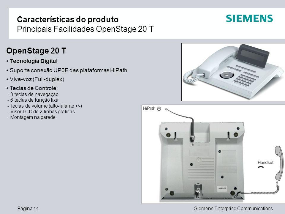 Características do produto Principais Facilidades OpenStage 20 T
