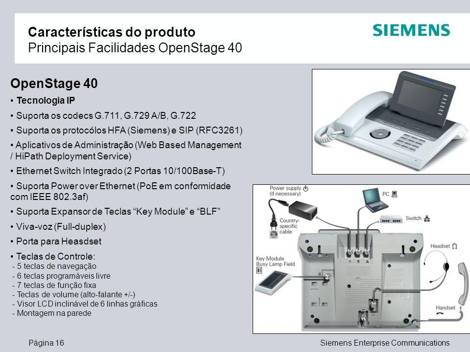 Características do produto Principais Facilidades OpenStage 40