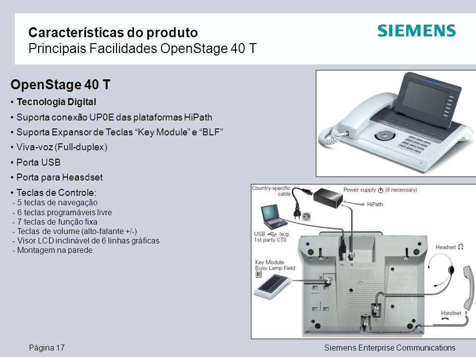 Características do produto Principais Facilidades OpenStage 40 T