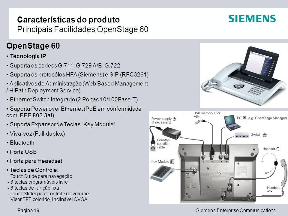 Características do produto Principais Facilidades OpenStage 60