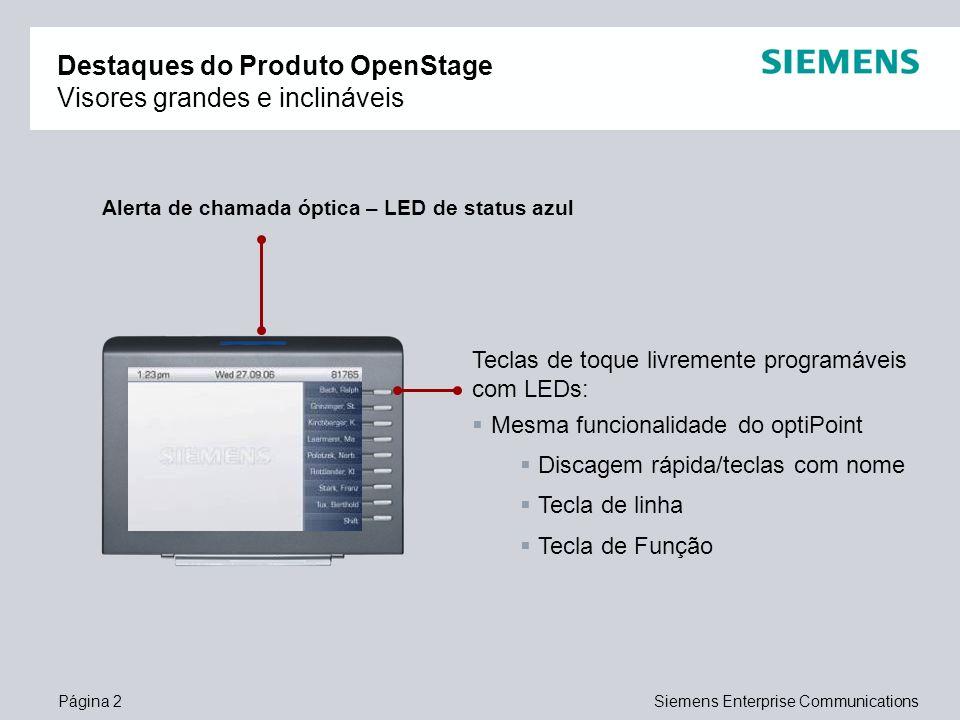 Destaques do Produto OpenStage Visores grandes e inclináveis