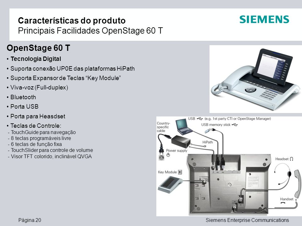 Características do produto Principais Facilidades OpenStage 60 T