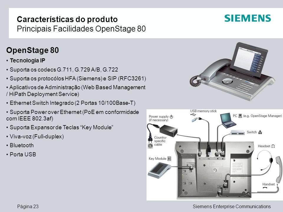 Características do produto Principais Facilidades OpenStage 80