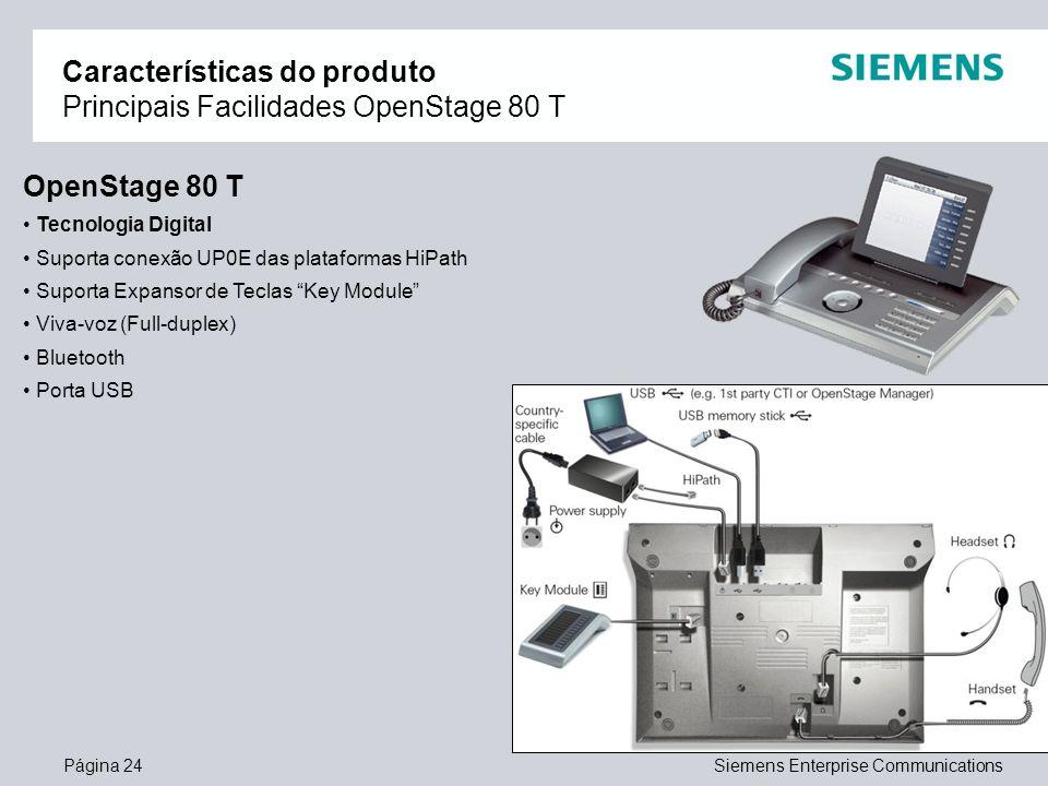 Características do produto Principais Facilidades OpenStage 80 T