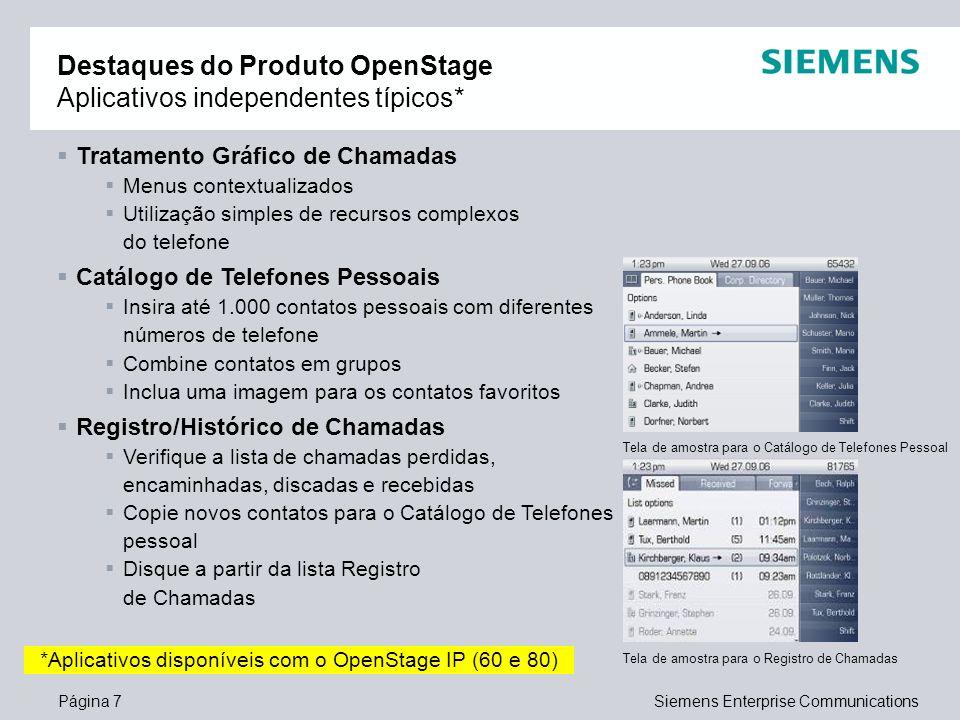 Destaques do Produto OpenStage Aplicativos independentes típicos*
