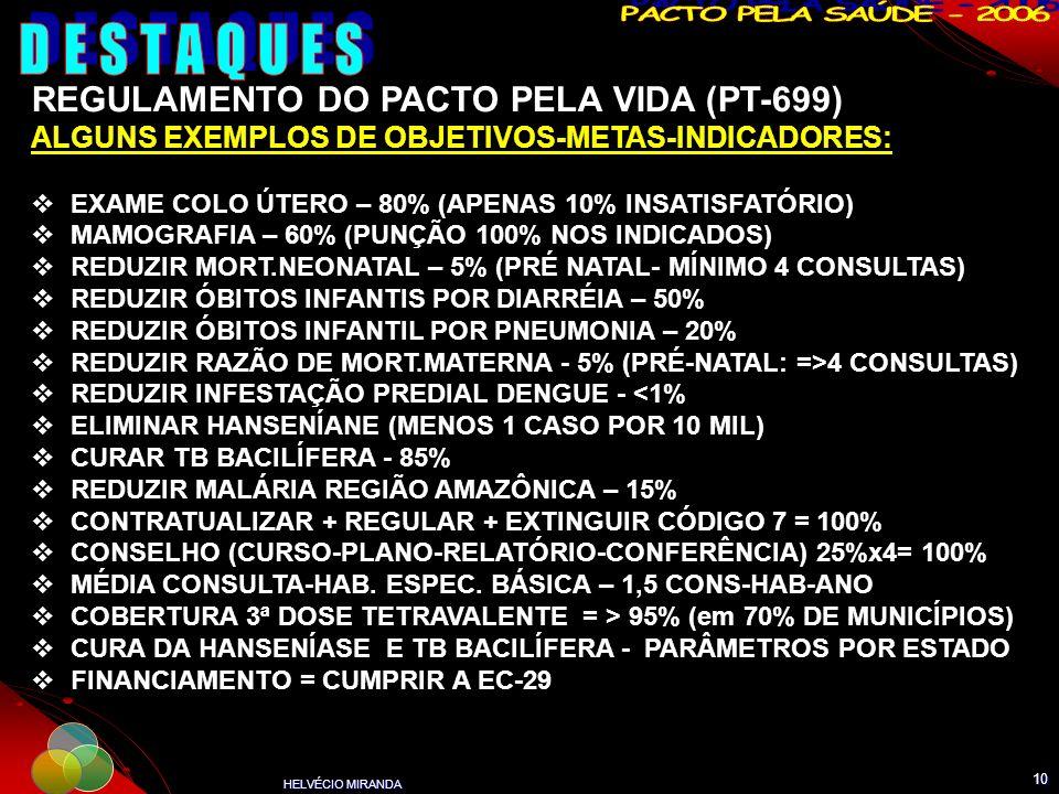 DESTAQUES REGULAMENTO DO PACTO PELA VIDA (PT-699)
