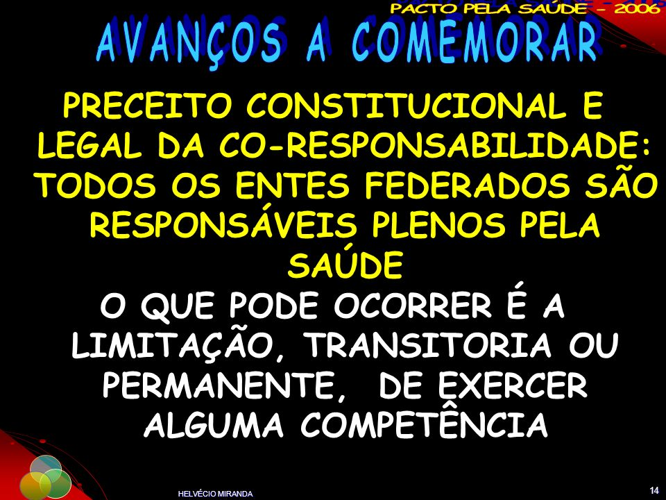 AVANÇOS A COMEMORAR PRECEITO CONSTITUCIONAL E LEGAL DA CO-RESPONSABILIDADE: TODOS OS ENTES FEDERADOS SÃO RESPONSÁVEIS PLENOS PELA SAÚDE.