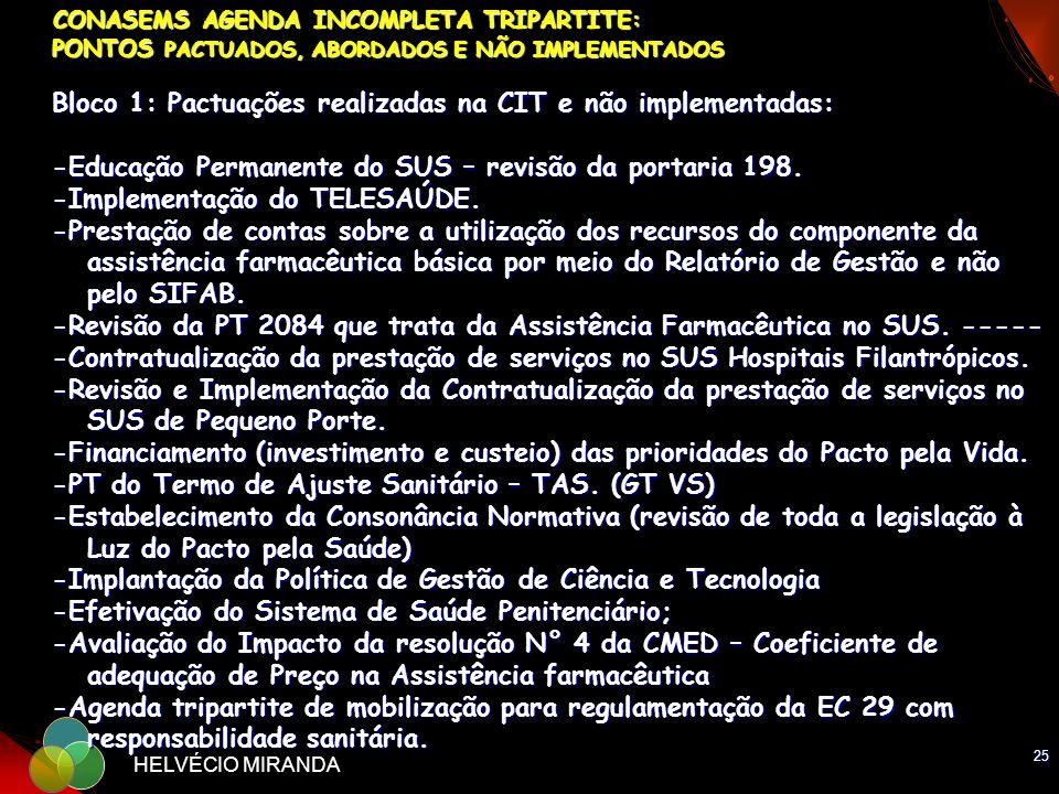CONASEMS AGENDA INCOMPLETA TRIPARTITE: PONTOS PACTUADOS, ABORDADOS E NÃO IMPLEMENTADOS Bloco 1: Pactuações realizadas na CIT e não implementadas: -Educação Permanente do SUS – revisão da portaria 198. -Implementação do TELESAÚDE. -Prestação de contas sobre a utilização dos recursos do componente da assistência farmacêutica básica por meio do Relatório de Gestão e não pelo SIFAB. -Revisão da PT 2084 que trata da Assistência Farmacêutica no SUS. ------Contratualização da prestação de serviços no SUS Hospitais Filantrópicos. -Revisão e Implementação da Contratualização da prestação de serviços no SUS de Pequeno Porte. -Financiamento (investimento e custeio) das prioridades do Pacto pela Vida. -PT do Termo de Ajuste Sanitário – TAS. (GT VS) -Estabelecimento da Consonância Normativa (revisão de toda a legislação à Luz do Pacto pela Saúde) -Implantação da Política de Gestão de Ciência e Tecnologia -Efetivação do Sistema de Saúde Penitenciário; -Avaliação do Impacto da resolução N° 4 da CMED – Coeficiente de adequação de Preço na Assistência farmacêutica -Agenda tripartite de mobilização para regulamentação da EC 29 com responsabilidade sanitária.