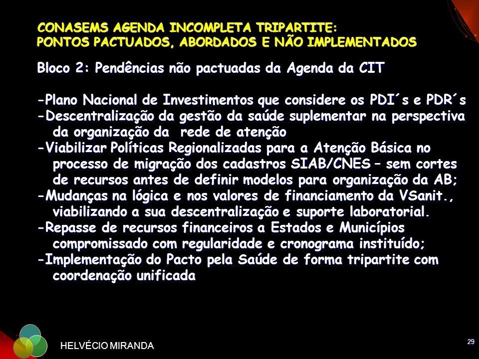 CONASEMS AGENDA INCOMPLETA TRIPARTITE: PONTOS PACTUADOS, ABORDADOS E NÃO IMPLEMENTADOS Bloco 2: Pendências não pactuadas da Agenda da CIT -Plano Nacional de Investimentos que considere os PDI´s e PDR´s -Descentralização da gestão da saúde suplementar na perspectiva da organização da rede de atenção -Viabilizar Políticas Regionalizadas para a Atenção Básica no processo de migração dos cadastros SIAB/CNES – sem cortes de recursos antes de definir modelos para organização da AB; -Mudanças na lógica e nos valores de financiamento da VSanit., viabilizando a sua descentralização e suporte laboratorial. -Repasse de recursos financeiros a Estados e Municípios compromissado com regularidade e cronograma instituído; -Implementação do Pacto pela Saúde de forma tripartite com coordenação unificada