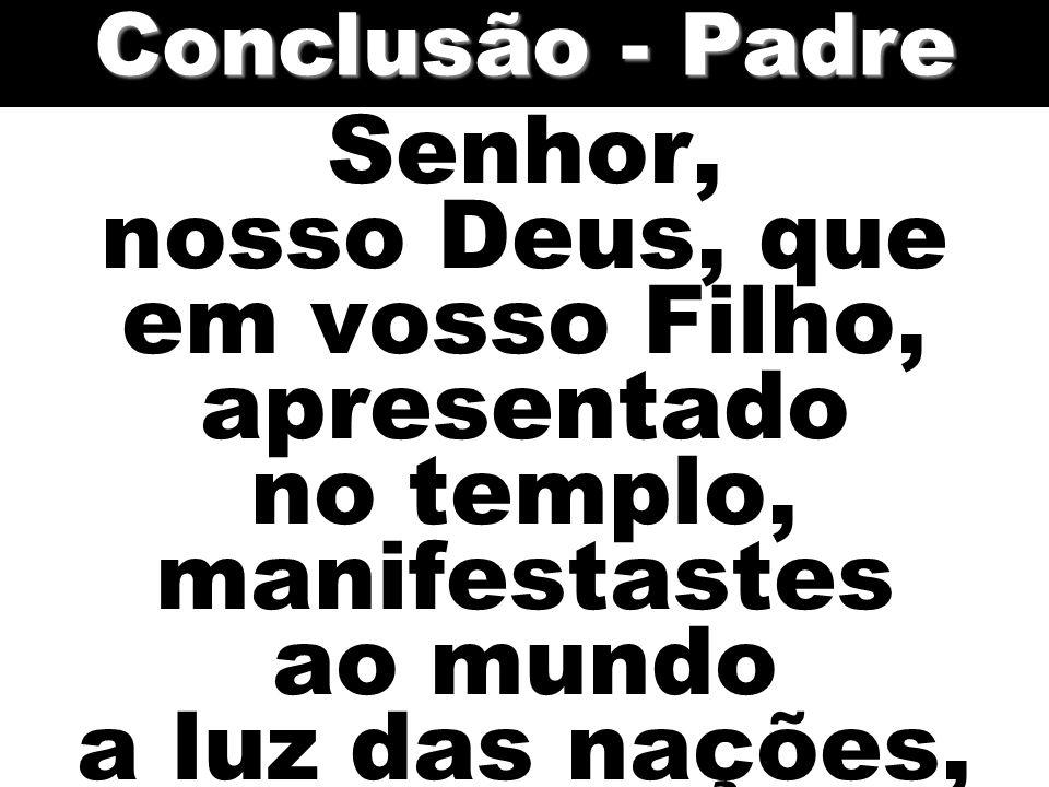 Conclusão - Padre Senhor, nosso Deus, que em vosso Filho, apresentado no templo, manifestastes ao mundo a luz das nações,