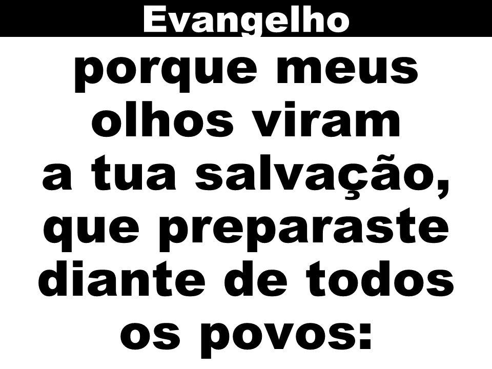 Evangelho porque meus olhos viram a tua salvação, que preparaste diante de todos os povos: