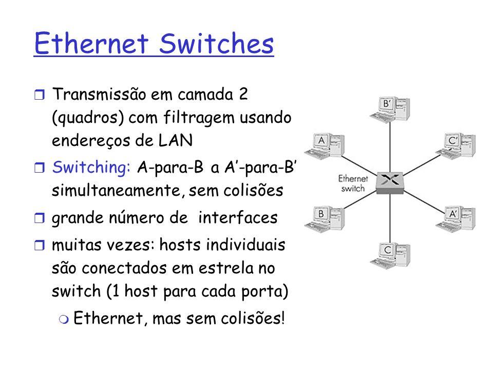 Ethernet Switches Transmissão em camada 2 (quadros) com filtragem usando endereços de LAN.