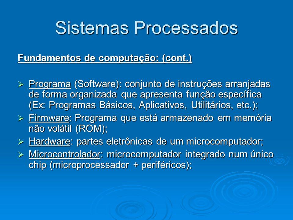 Sistemas Processados Fundamentos de computação: (cont.)