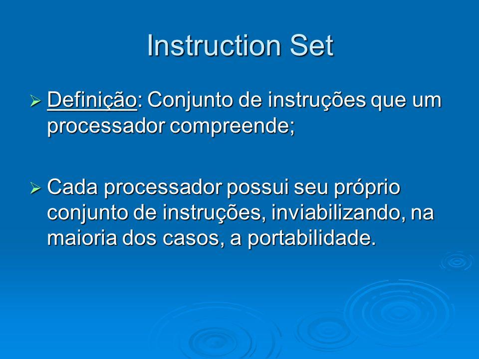 Instruction Set Definição: Conjunto de instruções que um processador compreende;