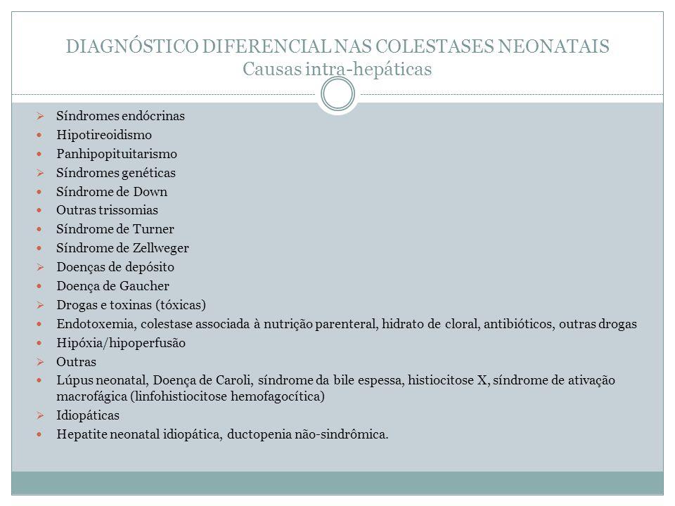 DIAGNÓSTICO DIFERENCIAL NAS COLESTASES NEONATAIS Causas intra-hepáticas