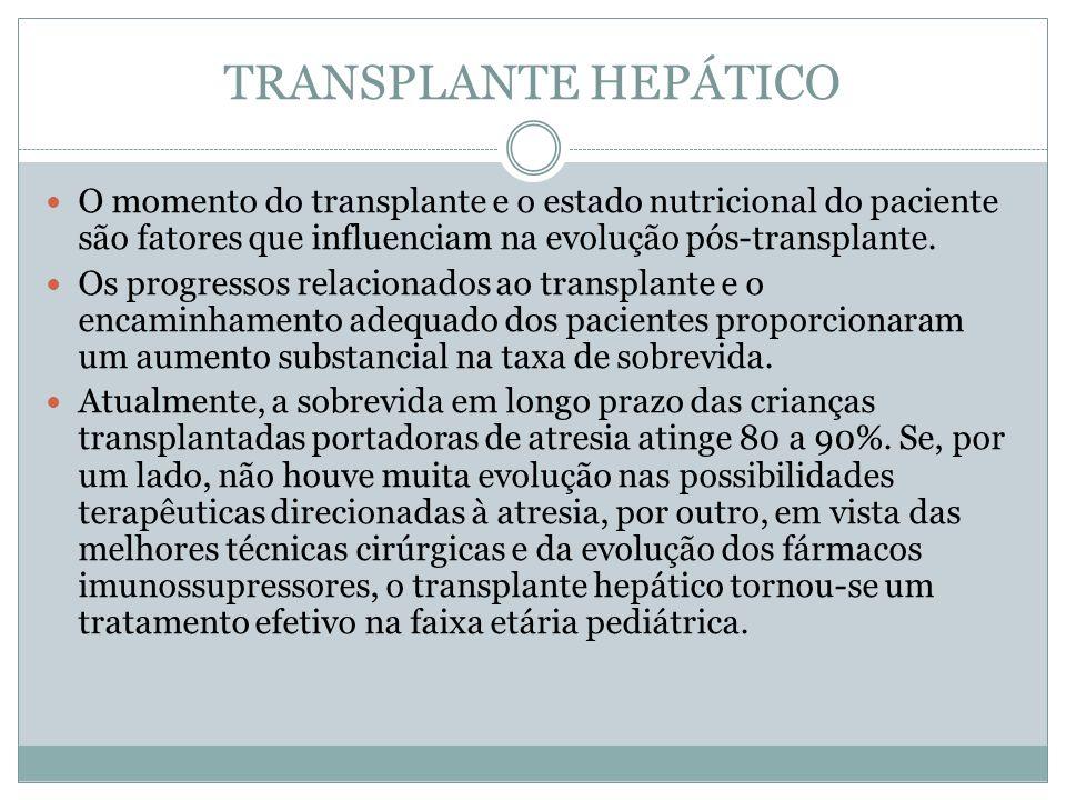 TRANSPLANTE HEPÁTICO O momento do transplante e o estado nutricional do paciente são fatores que influenciam na evolução pós-transplante.
