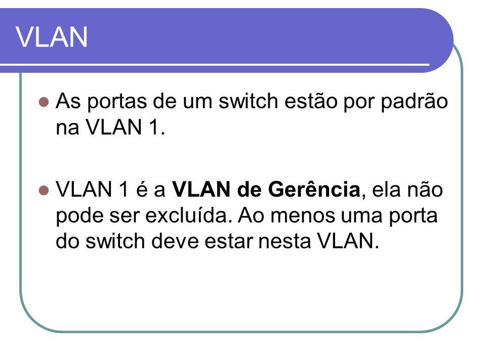 VLAN As portas de um switch estão por padrão na VLAN 1.