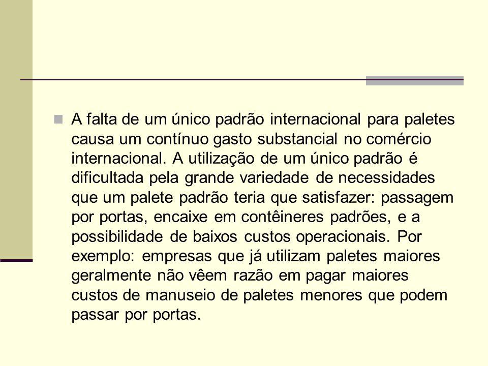 A falta de um único padrão internacional para paletes causa um contínuo gasto substancial no comércio internacional.