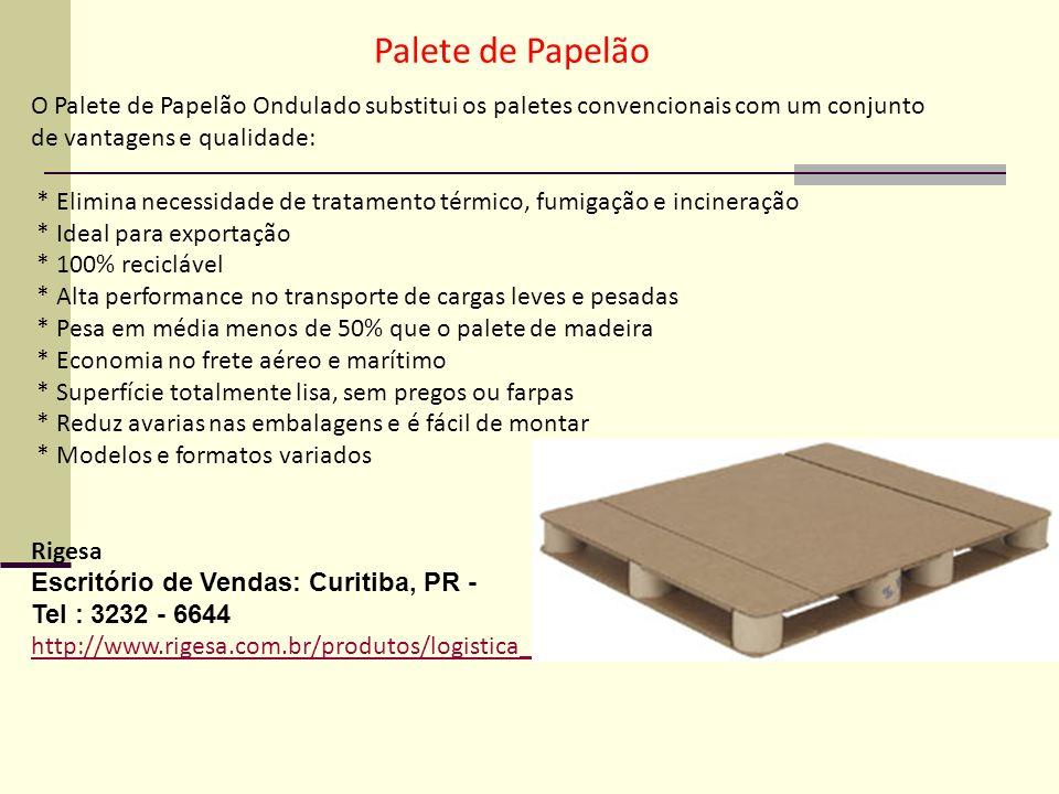 Palete de Papelão O Palete de Papelão Ondulado substitui os paletes convencionais com um conjunto de vantagens e qualidade: