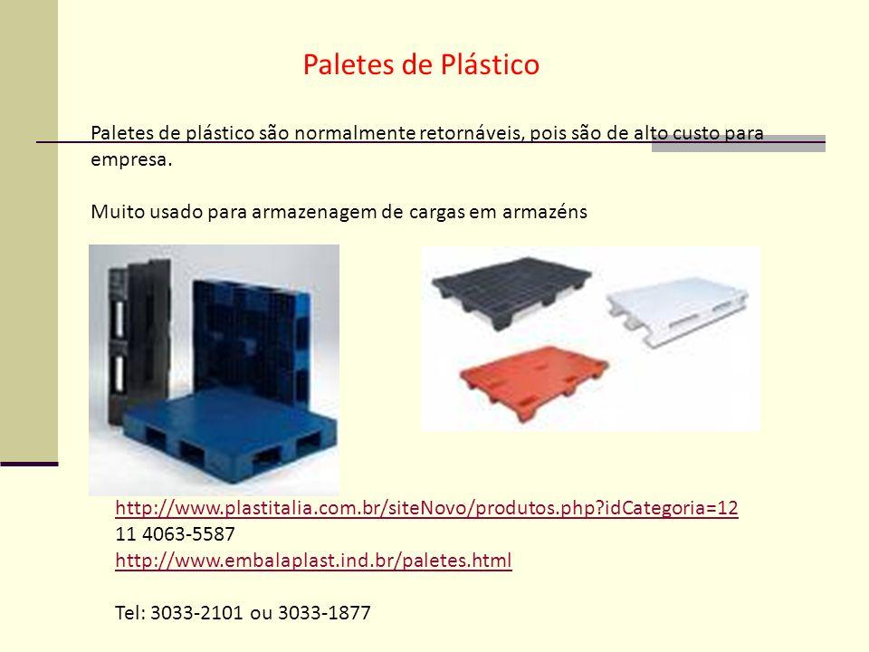 Paletes de Plástico Paletes de plástico são normalmente retornáveis, pois são de alto custo para empresa.