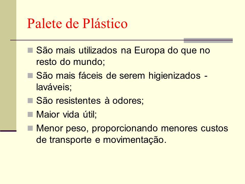 Palete de Plástico São mais utilizados na Europa do que no resto do mundo; São mais fáceis de serem higienizados - laváveis;