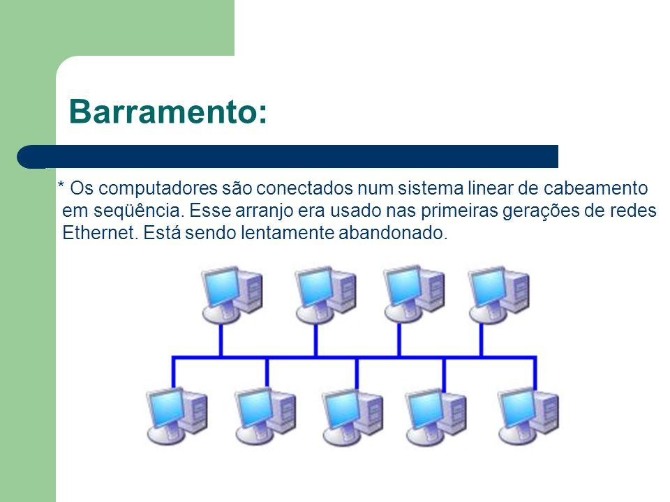 Barramento: * Os computadores são conectados num sistema linear de cabeamento. em seqüência. Esse arranjo era usado nas primeiras gerações de redes.