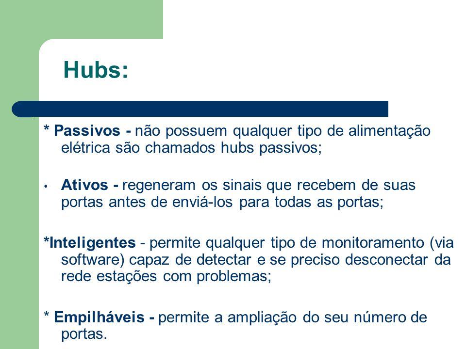 Hubs: * Passivos - não possuem qualquer tipo de alimentação elétrica são chamados hubs passivos;