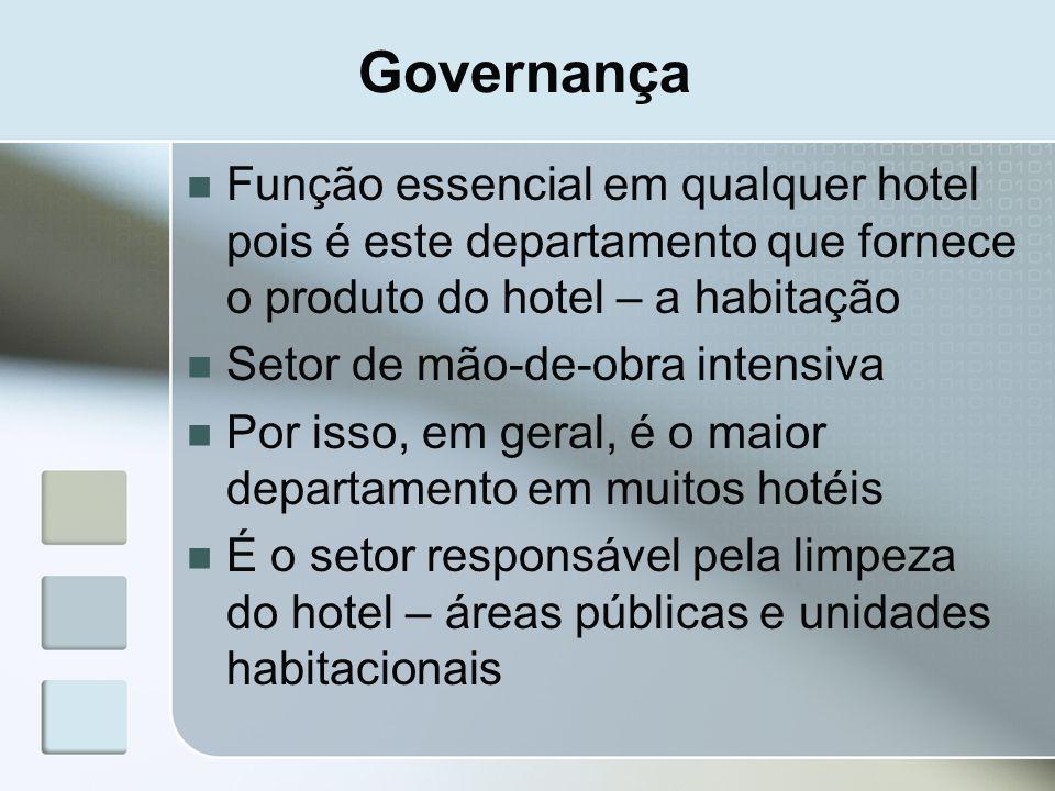 Governança Função essencial em qualquer hotel pois é este departamento que fornece o produto do hotel – a habitação.