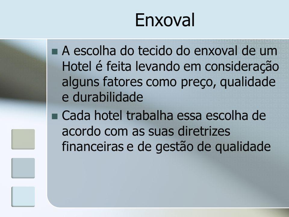 Enxoval A escolha do tecido do enxoval de um Hotel é feita levando em consideração alguns fatores como preço, qualidade e durabilidade.