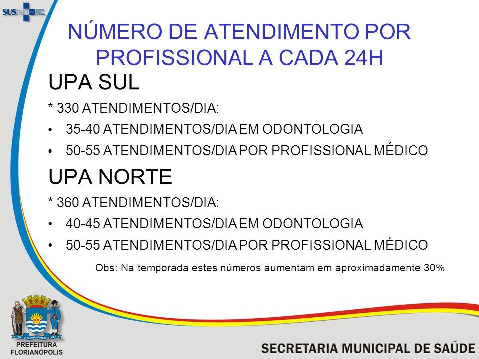 NÚMERO DE ATENDIMENTO POR PROFISSIONAL A CADA 24H