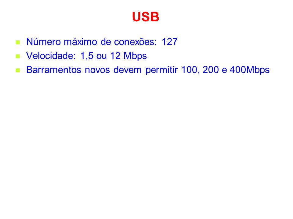 USB Número máximo de conexões: 127 Velocidade: 1,5 ou 12 Mbps