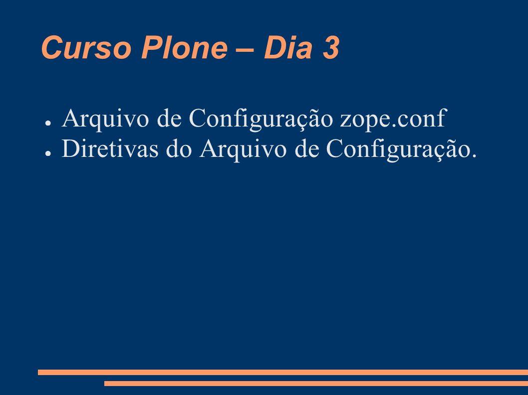 Curso Plone – Dia 3 Arquivo de Configuração zope.conf