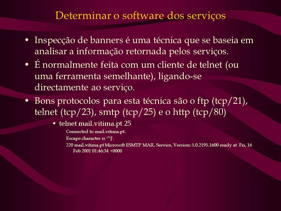 Determinar o software dos serviços