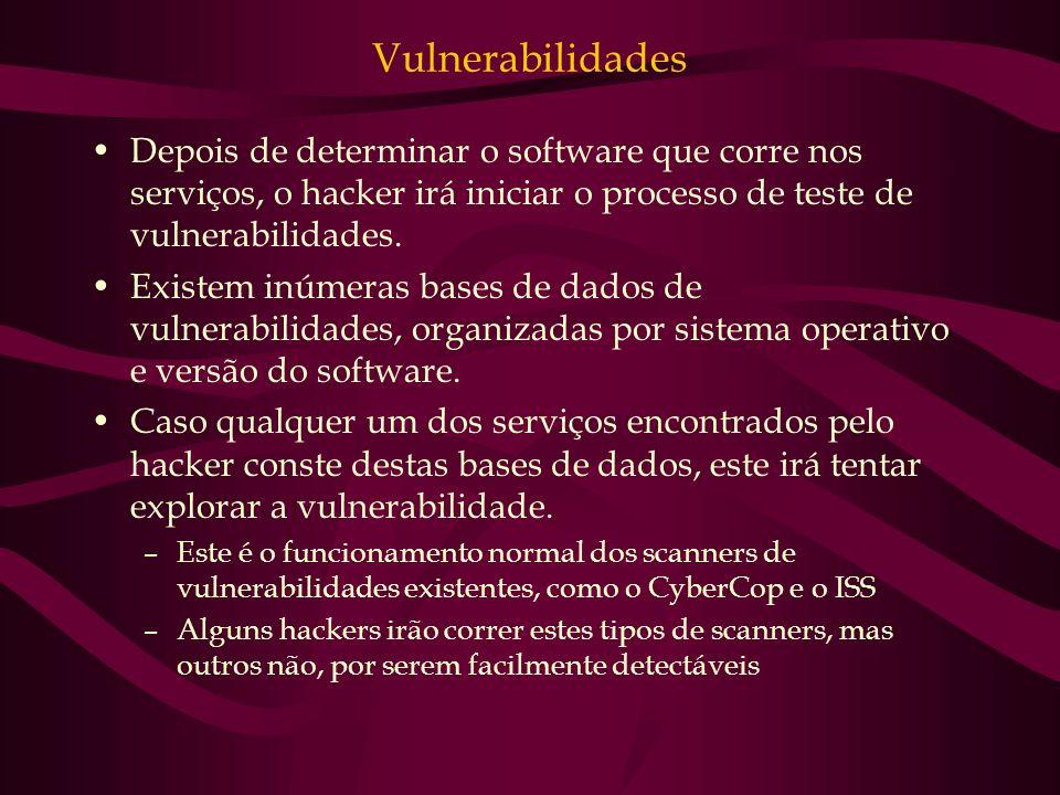 Vulnerabilidades Depois de determinar o software que corre nos serviços, o hacker irá iniciar o processo de teste de vulnerabilidades.