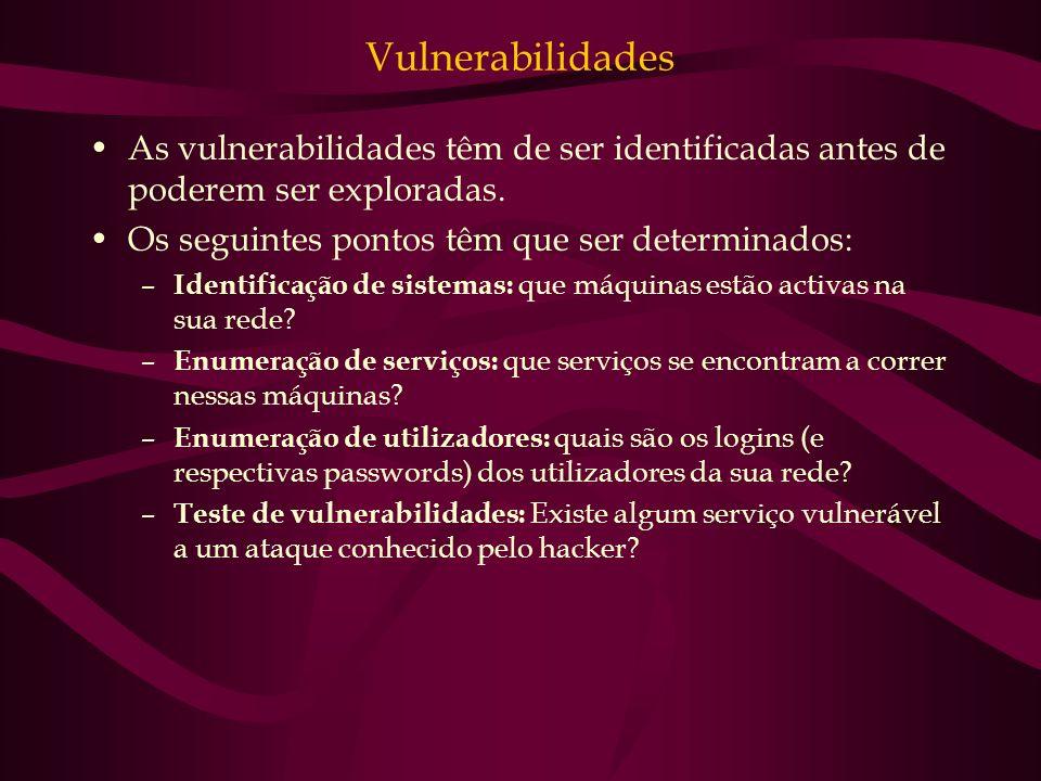 Vulnerabilidades As vulnerabilidades têm de ser identificadas antes de poderem ser exploradas. Os seguintes pontos têm que ser determinados: