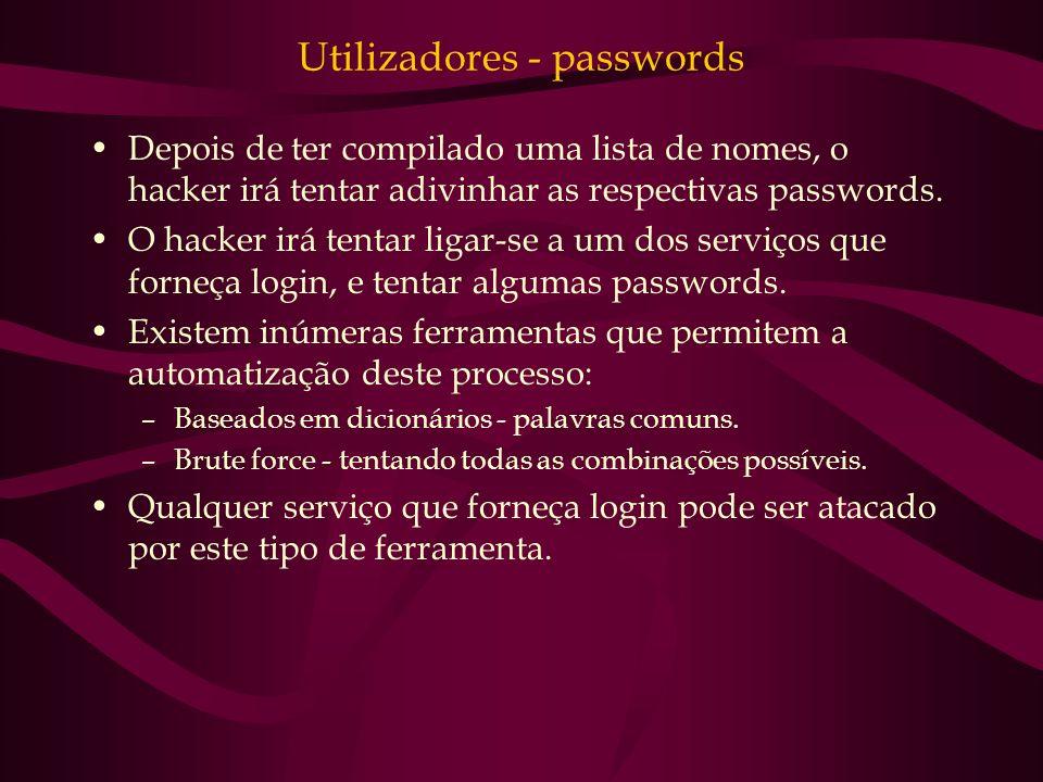 Utilizadores - passwords