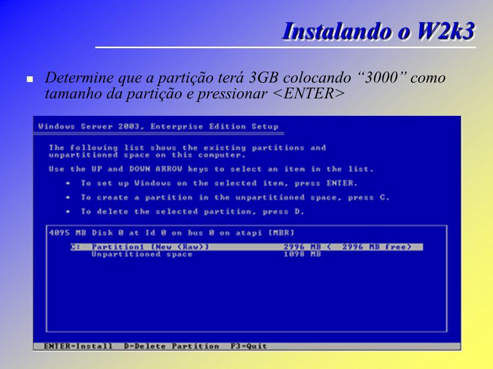 Instalando o W2k3 Determine que a partição terá 3GB colocando 3000 como tamanho da partição e pressionar <ENTER>