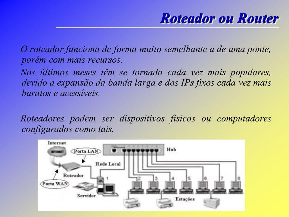 Roteador ou Router O roteador funciona de forma muito semelhante a de uma ponte, porém com mais recursos.