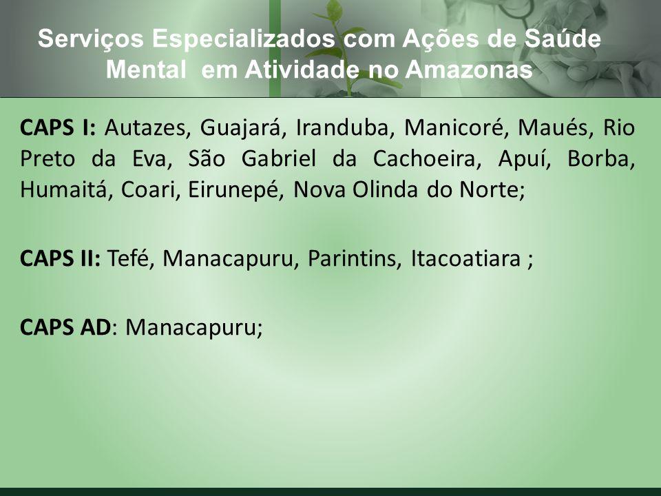 Serviços Especializados com Ações de Saúde Mental em Atividade no Amazonas