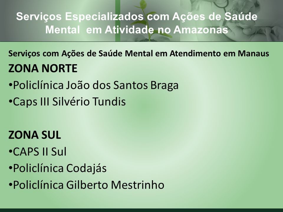 Policlínica João dos Santos Braga Caps III Silvério Tundis ZONA SUL