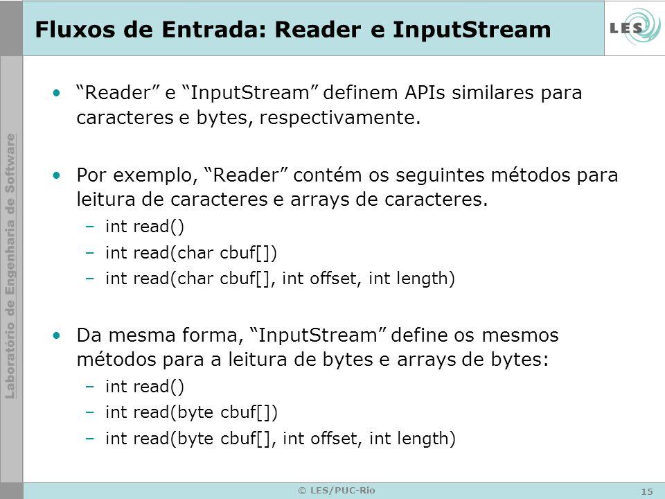 Fluxos de Entrada: Reader e InputStream