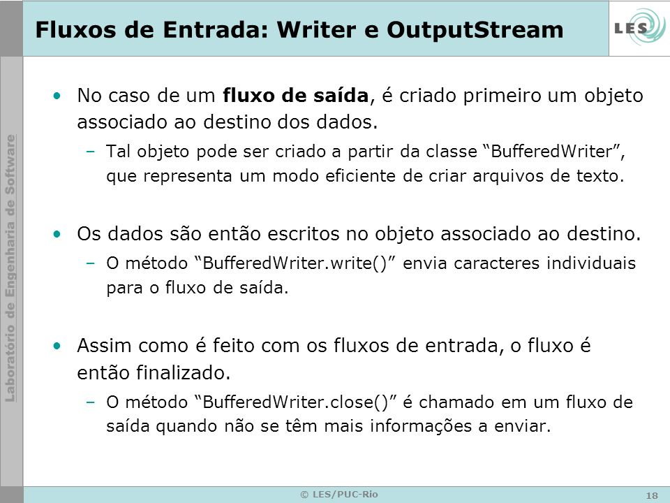Fluxos de Entrada: Writer e OutputStream