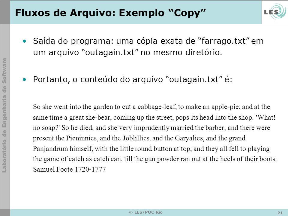Fluxos de Arquivo: Exemplo Copy