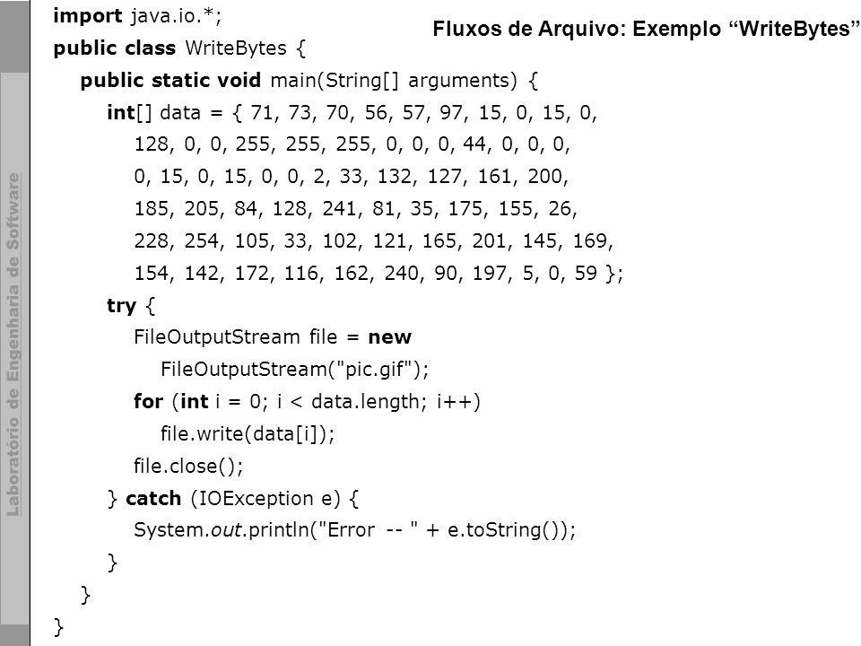 Fluxos de Arquivo: Exemplo WriteBytes