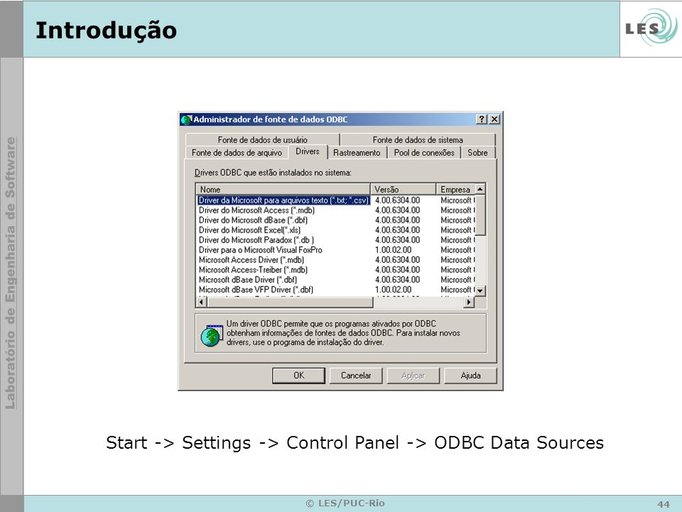Introdução Start -> Settings -> Control Panel -> ODBC Data Sources © LES/PUC-Rio